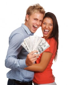 Lovely couple holding  American currency notes on white